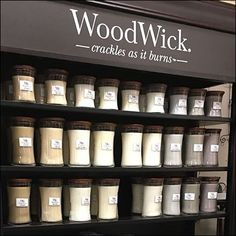 I love anything with vanilla, outdoorsy. Cinnamon chai, white teak, vanilla bean) Just not super sweet smell like cookies baking. Wood Wick Candles, Scented Candles, Candle Store, Store Fixtures, Cabinet Making, Business Card Holders, Wax Melts, Display, Vanilla