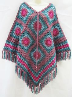 Vintage Retro Hand Crafted Green Pinks Mix Crochet Poncho Cape Hippy Granny NEW