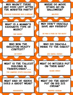 Enjoy your Halloween with these fun filled, humorous Halloween Lunch Box Jokes. here are 21 Hilarious Halloween Lunch Box Jokes For Kids! Halloween Tags, Funny Halloween Jokes, Funny Jokes For Kids, Halloween Party Games, Halloween Activities, Holidays Halloween, Halloween Riddles, Kid Jokes, Happy Halloween