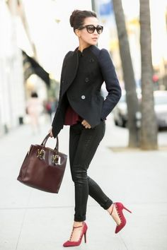 Now it is time to dress it up for the chilly season with a black jacket, red blouse and heels, and dark wash jeans (or leather pants)...