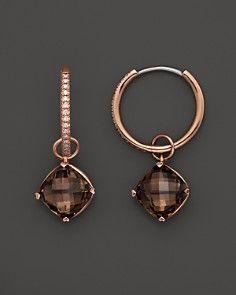 Lisa Nik 18K Rose Gold Diamond Hoop Earrings with Smokey Quartz Detachable Drops