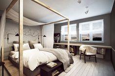 Wrocław - Maślice - - A large matrimonial bedroom - photo from razoo-architects Dream Bedroom, Room Decor Bedroom, Home Bedroom, Scandinavian Style Bedroom, Interior Inspiration, Minimalism, Interior Design, Architecture, Furniture