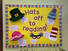 Hats off to reading bulletin board Elementary Bulletin Boards, Kindergarten Bulletin Boards, Reading Bulletin Boards, Spring Bulletin Boards, Elementary School Library, Bulletin Board Display, Classroom Bulletin Boards, Reading Boards, Classroom Door