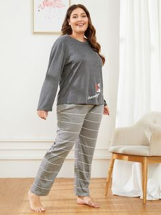 To find out about the Plus Letter Print Striped Pajama Set at SHEIN, part of our latest Plus Size Loungewear ready to shop online today! Plus Size Pajamas, Mens Pants Size Chart, Striped Pyjamas, Spandex, Young Models, Pj Sets, Size Model, Pajama Set, Lounge Wear