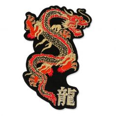 Iron-on badge 71x110mm big red dragon x1 : Hotfix patch or to sew on . Ideal to customize your clothes, accessories. You can fix it with you iron or sew it to fi