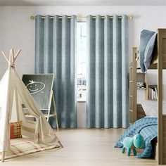 Eternity Linen Blue Mist Curtains