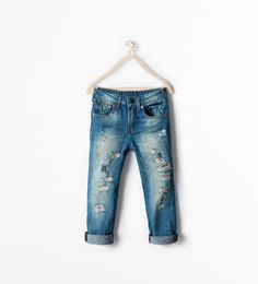 REGULAR FIT RIPPED JEANS from Zara Boys AW14