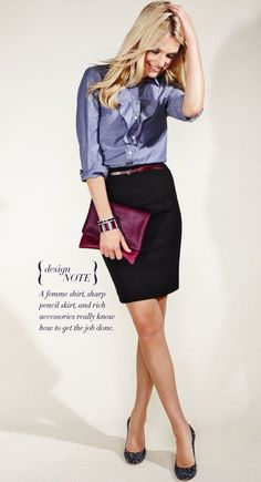 What a great work look!  Love the chambray ruffle shirt: takes a casual shirt and dresses it up!