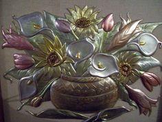 Bodegón repujado y calado, sobre manta 50 x 50