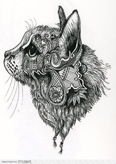 This is a zentangle cat I found or henna cat! Tatoo Henna, Mandala Tattoo, Hp Tattoo, Tattoo Small, Tattoo Flash, Mandala Art, Henna Patterns, Zentangle Patterns, Colouring Pages