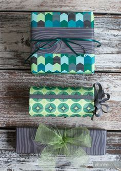 Umm... all you quilters out there... Seriously... Cutest free Chevron and Forest Printable Wrapping Paper from ellinee.com