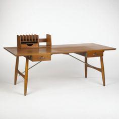 Great HANS WEGNER Desk Johannes Hansen Denmark, 1954 Teak, Steel 77 W X 36 D X 29