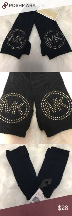 "NWT! MICHAEL KORS MK Studded Fingerless Gloves MICHAEL By Michael Kors studded ""MK"" fingerless gloves with thumb hole. One size. BRAND NEW WITH TAGS! MICHAEL Michael Kors Accessories Gloves & Mittens"
