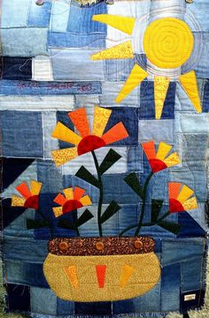love the denim scappy bg What a great way to use old blue jeans. Small Quilts, Mini Quilts, Baby Quilts, Applique Quilts, Embroidery Applique, Blue Jean Quilts, Flower Quilts, Basket Quilt, Patch Aplique