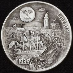 Hobo Nickel by Alex Ostrogradsky Old Coins, Rare Coins, Coin Design, Hobo Nickel, Coin Art, Metal Clay Jewelry, Coin Collecting, Silver Coins, Sculpture Art