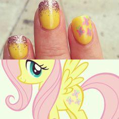 pretty pony!  Fluttershy themed nail art.