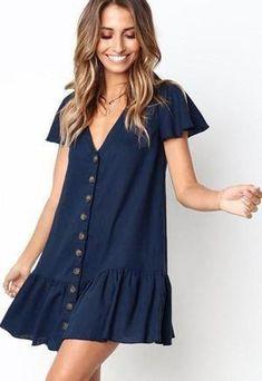 Dark-blue V Neck Button Ruffles Casual Shift Dress Summer Outfits, Cute Outfits, Summer Dresses, Dress Outfits, V Neck Dress, Dress Skirt, Blue Dresses, Casual Dresses, Mini Dresses