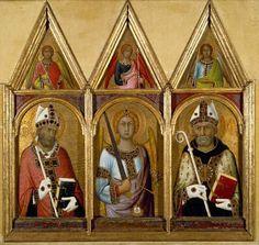 Simone Martini ~ De heiligen Germinianus, Michael en Augustinus met engelen ~ ca. 1319 ~ Tempera met goud en zilver op hout ~ Elk 110 x 38 cm. ~ The Fitzwilliam Museum, Cambridge