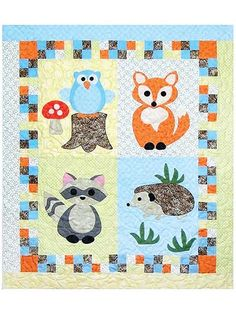 "Easy piecing and large fusible shapes of an owl, fox, raccoon and hedgehog make up an ideal quilt for any newborn. A great size for a wall hanging, play mat or even a receiving blanket. Finished quilt size is 39"" x 45""."