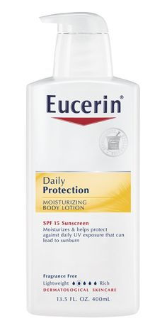 Eucerin Everyday Protection Body Lotion SPF 15 400 ml. Formulated with a blend of sunscreens including titanium dioxide, it provides broad spectrum UVA/UVB protection to help prevent skin aging, long-term skin damage and skin cancer. Anti-oxidant enriched with Vitamin E to help protect from free radical damage. Non-greasy, moisturizing formula is clinically proven to relieve dry skin for 24 hours.