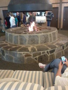 Beautiful fire pit inside dining hall at my summer camp