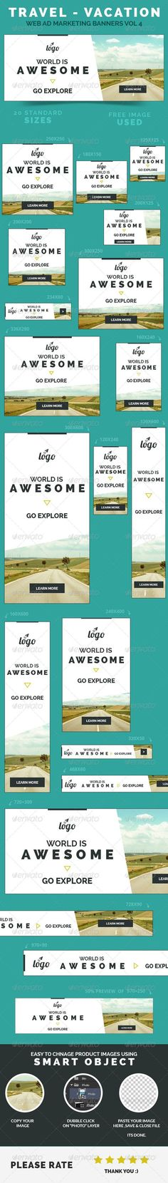 Travel - Vacation Web Ad Marketing Banners Template PSD | Buy and Download: http://graphicriver.net/item/travel-vacation-web-ad-marketing-banners-vol-4/8500668?WT.ac=category_thumb&WT.z_author=webduck&ref=ksioks: