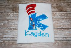 Cat in The Hat Dr. Seuss Birthday Shirt Personalized with name underneath
