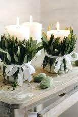 Herbs Wrapped around Candles...