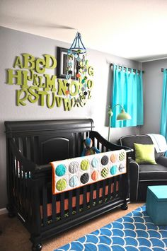 DIY Alphabet for the nursery.. highlight his/her first initial with a frame or paint it with a pattern. Cute!