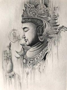 Buddha Drawing, Buddha Art, Japanese Tattoo Designs, Small Tattoo Designs, Black Ink Tattoos, Black And Grey Tattoos, Tattoo Sketches, Tattoo Drawings, Buda Tattoo