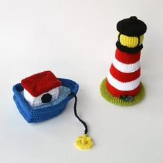 Lighthouse and boat amigurumi pattern by The Flying Dutchman Crochet Design