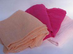 retro hippie vintage crinkle gauze, light textured cotton fabric lot