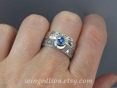 Sun Moon and Stars Diamond Engagement Ring and Wedding Band Set