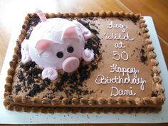 Hog Wild at 50 — Birthday Cake Photos-dads party? Cupcakes, Cupcake Cakes, Pig Birthday Cakes, 50 Birthday, Birthday Quotes, Birthday Ideas, Piggy Cake, Pig Cookies, Pig Roast