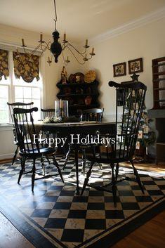 dining room floor cloth | Marbleized Floorcloth – Black & Cream Diamonds as featured in the ...