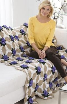 Best Free Crochet » Free Crochet Pattern Pansy Throw From RedHeart.com #144 Just might be my next big project.