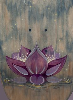 Image of 'The Fountain' - Painted Skateboard Deck Acrylic Wall Art, Acrylic Painting Canvas, Canvas Art, Painted Skateboard, Lotus Flower Art, Spiritual Paintings, Buddha Art, Happy Paintings, Yoga Art