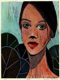 Lily - 8x6 Woodcut with watercolor on colored pencil Belinda DelPesco