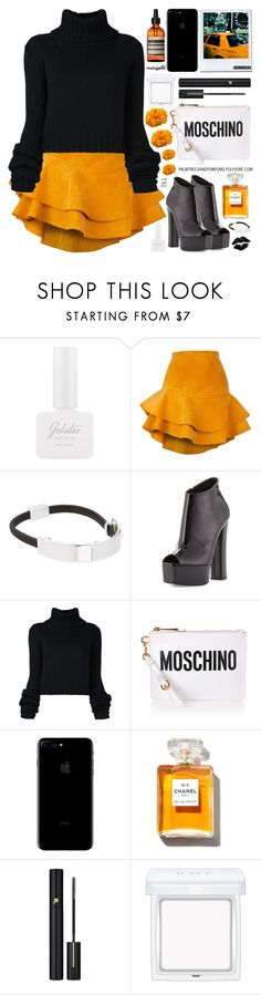 """""""Stay Golden: Dressing in Marigold"""" by palmtreesandpompoms ❤ liked on Polyvore featuring Missha, Siobhan Molloy, Witchery, Giuseppe Zanotti, IO Ivana Omazić, Moschino, Chanel, Lancôme, RMK and Aesop"""