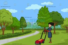 A Helper Pushing A Lawn Mower At A Pretty Park With Walking Path:  A woman with ponytailed black hair wearing a dark teal dress orange gloves and light orange flats closes her eyes and lips while holding on to the handle of a red lawnmower with wheels. Set in a view of the park during a great day with a gray pavement used as a walkway different trees and green grass.  #clipart #women #female #cartoon #illustration #vectortoons #vector