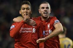 LFC 3 - 3 Arsenal, January 13, 2016.  Roberto Firmino celebrates his second goal with Jordan Henderson