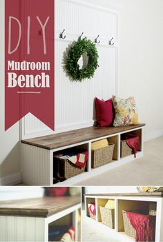 DIY Mudroom Bench. Keep your home and entryway organized with this simple, shabby chic storage bench project.