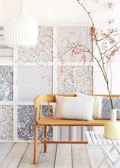 Winnen: Eijffinger behang t.w.v. 250 euro - love these fabric panels