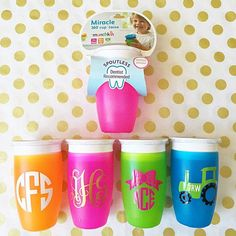 Toddler Baby sippy cup monogram initials personalized by ShopBPink
