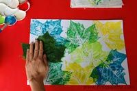 Leaf Prints Collage - we do this, but for our young ones, we put the leaves into a plate of paint and then place the paint covered leaf onto one side of a folded paper. The kids then fold the paper on top of itself and rub the outside to transfer the paint to make a symmetrical picture.  Fun and kids love to see the finished picture.