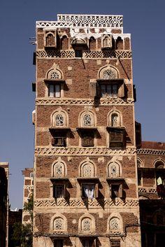 Sana'a, Yemen. I love this architecture. Fabulous! ♥ #bluedivagal, bluedivadesigns.wordpress.com