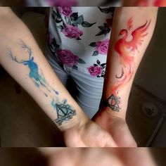 If you're a couple who loves Harry Potter, team up and get a matching tattoo. Sanskrit Tattoo, Hamsa Tattoo, Hp Tattoo, Get A Tattoo, Script Tattoos, Bodysuit Tattoos, Tattoo Roman, Harry Pottertattoo, Faith Tattoo On Wrist