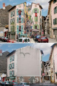 Incredible Before & After Street Art Transformations That'll Make You Say Wow - Renaissance, Le Puy en Velay, France 3d Street Art, Murals Street Art, Amazing Street Art, Street Art Graffiti, Street Artists, Graffiti Artists, Empty Canvas, 3d Art, Urbane Kunst