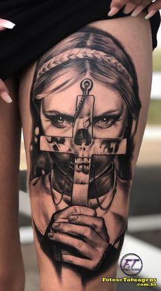 80 Photos of Female Tattoos on Her Leg for Inspiration - .- 80 Fotos de tatuagens femininas na perna para se inspirar – Fotos e Tatuagens 80 Photos of Female Tattoos on Leg for Inspiration – Photos and Tattoos - Satanic Tattoos, Evil Tattoos, Gangster Tattoos, Wicked Tattoos, Creepy Tattoos, Badass Tattoos, Female Tattoos, Skull Girl Tattoo, Skull Tattoos