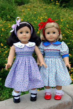 smocking on American girl dresses.
